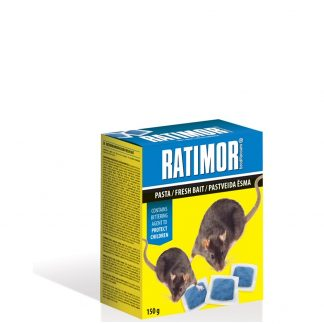 RATIMOR. Pasta pelėms/žiurkėms 150 g. Efektyvūs ir patikimi nuodai nuo pelių ir žiurkių. Paruoštas naudojimui masalas