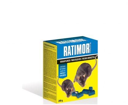 RATIMOR. Presuoti gabalėliai nuo pelių ir graužikų 200 g. Efektyvūs ir patikimi nuodai nuo pelių ir žiurkių. Paruoštas naudojimui masalas