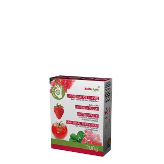 Universalios trąšos 200 g. Maistinės medžiagos, esančios trąšose yra lengvai augalų įsisavinamos formos. Patręšti augalai sužaliuos, sutvirtės, pradės augti.